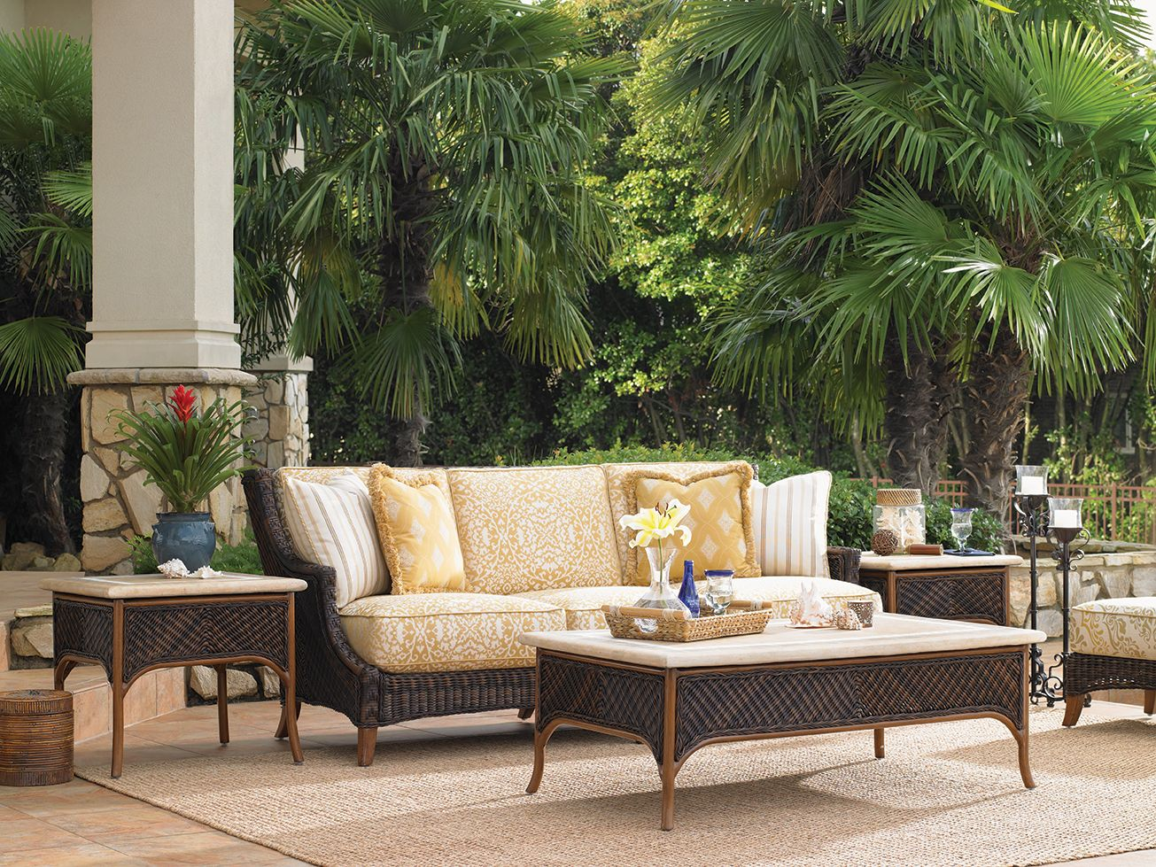 Tommy Bahama Island Estate Lanai Collection Outdoor Wicker Sofa Accent Tables And Tail