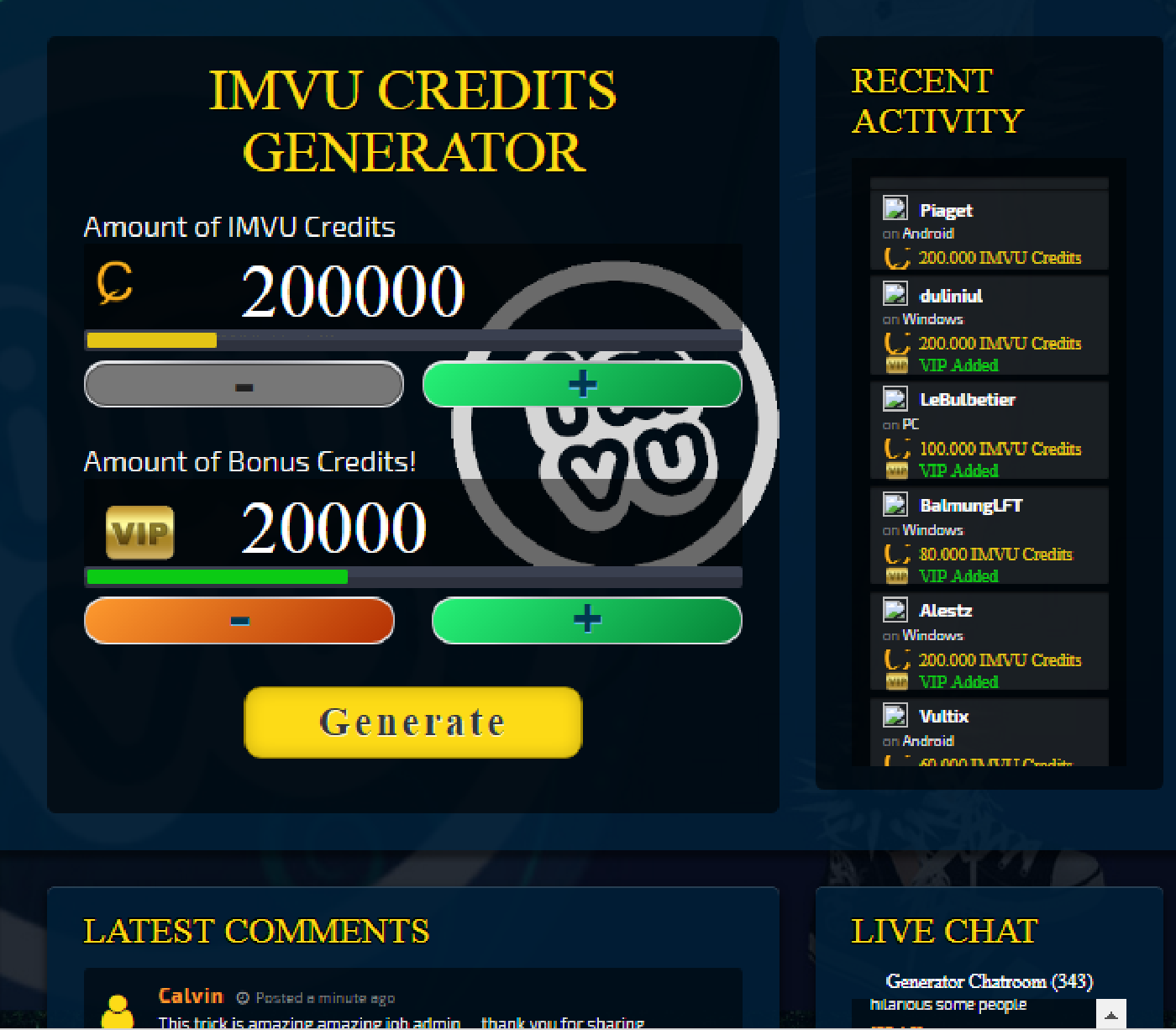 IMVU Credits Generator & Hack No Survey