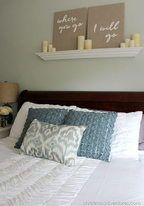 Master bedroom makeover blogger home projects we love - Master bedroom art above bed ...
