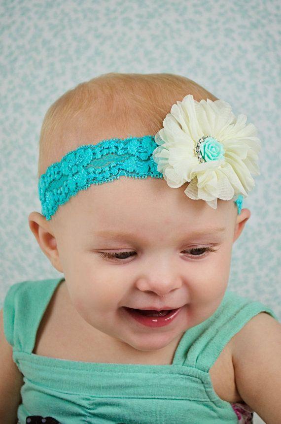 Lace Flower Headband Aqua and Grey Flower Headband Lace Headband Newborn Girl Photo Prop Aqua and Beige Headband Stretch Headband