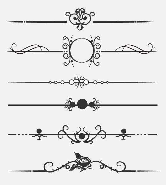 Dividers | Calligraphic dividers - Download free vector clipart ...