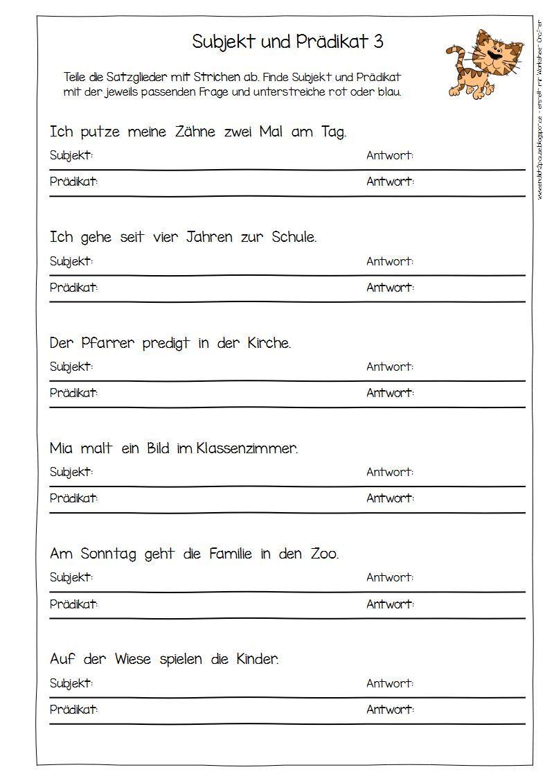 Eulenpost   Satzglieder AB 20 20   Satzglieder, Subjekt und prädikat ...