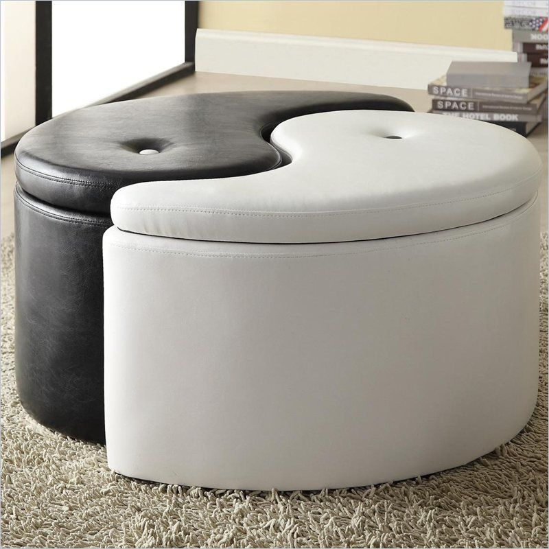 Coaster Storage Ottoman Ying Yang in Black and White - 501104 ...