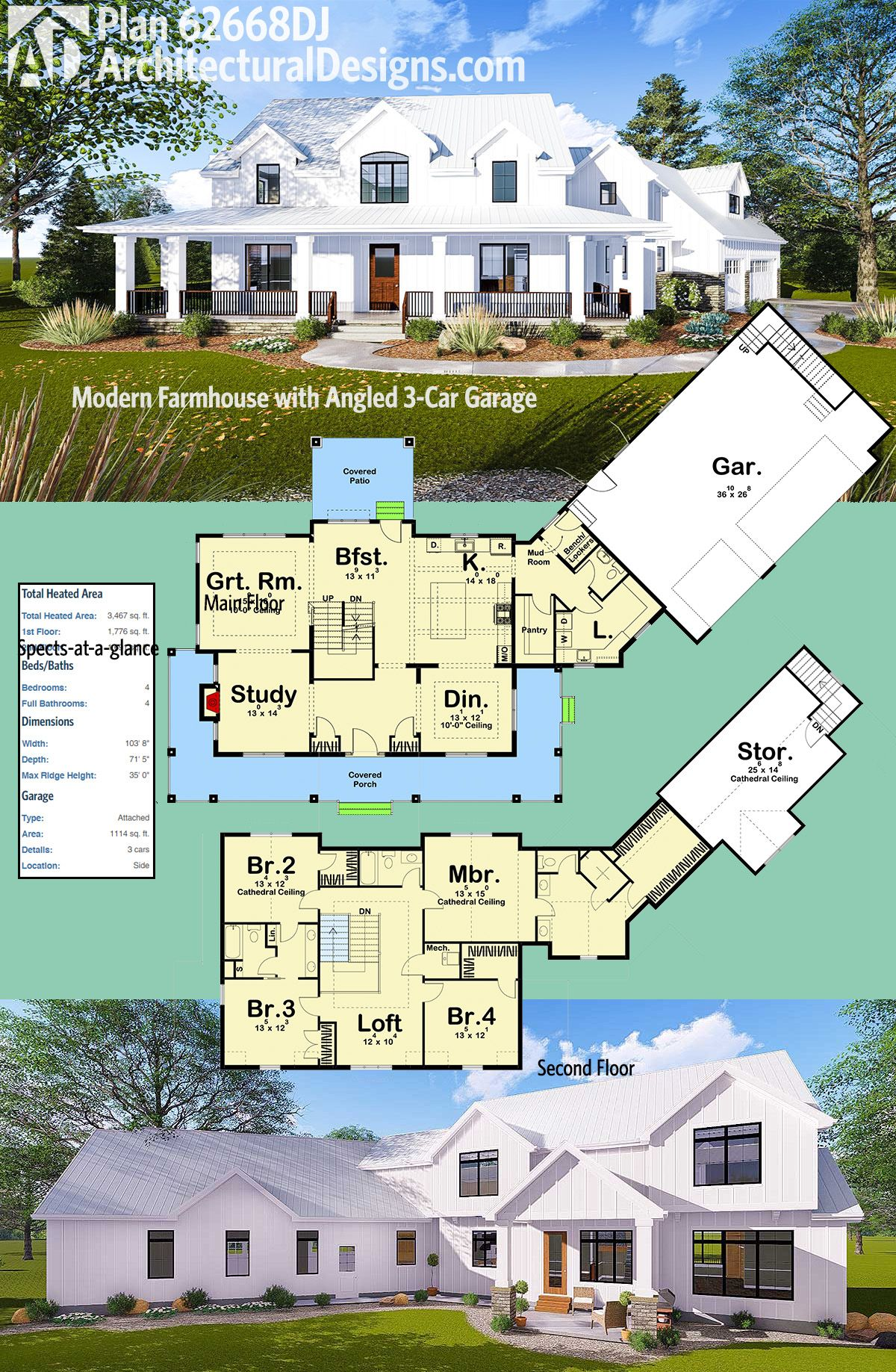 Plan 62668DJ: Modern Farmhouse with Angled 3-Car Garage ...