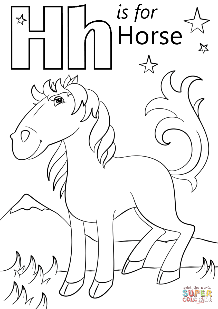 letter h is for horse coloring page
