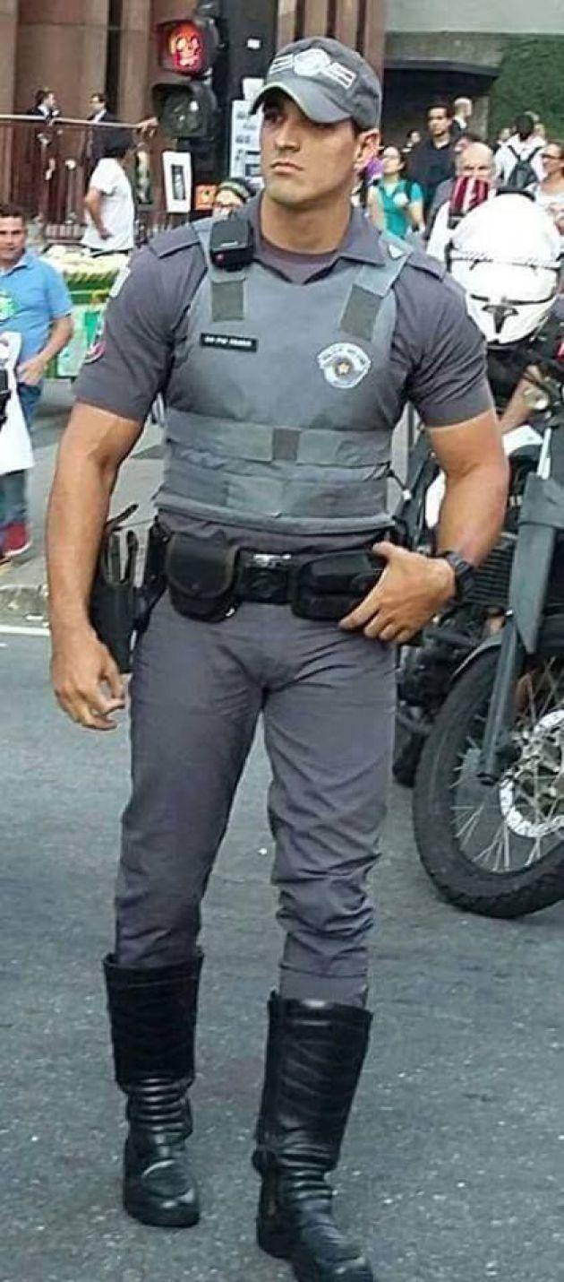 Gay man in police uniform
