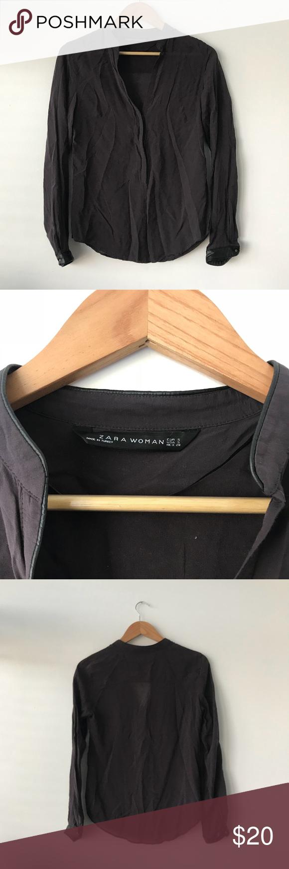 Zara Gray Faux Leather Trim Blouse Feels like a chiffon