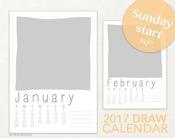 2017 Calendar Template 5x7 size, Desk Calendar, Photo Calendar