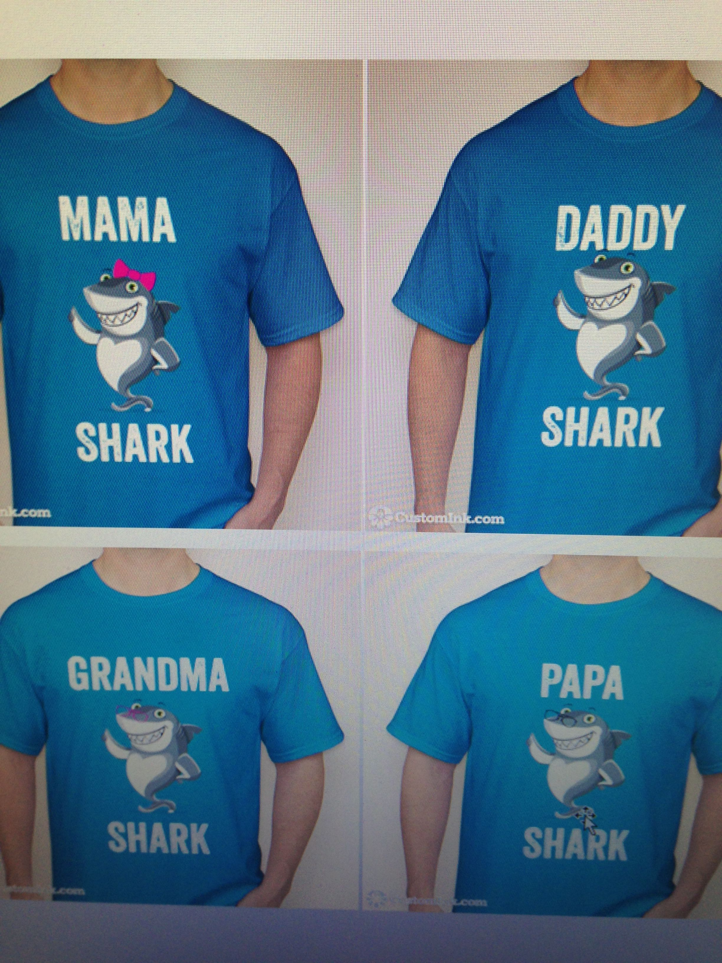 Shark family tee shirts online from Custom Ink for our son s 3rd birthday  shark party. Approx  25 each. 4c9ec678e