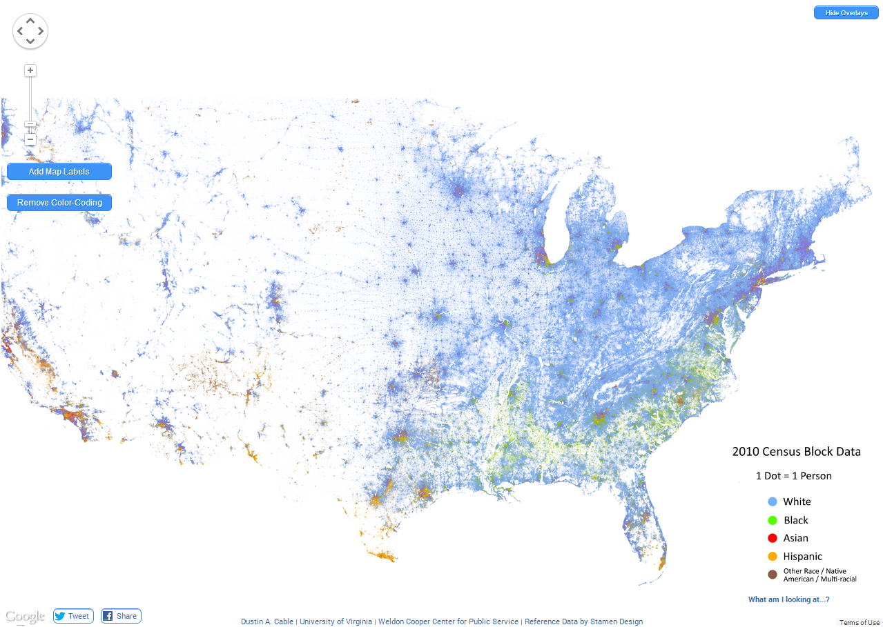 US Map The Racial Dot Map Interactive HTML Maps Pinterest - Interactive us map html5