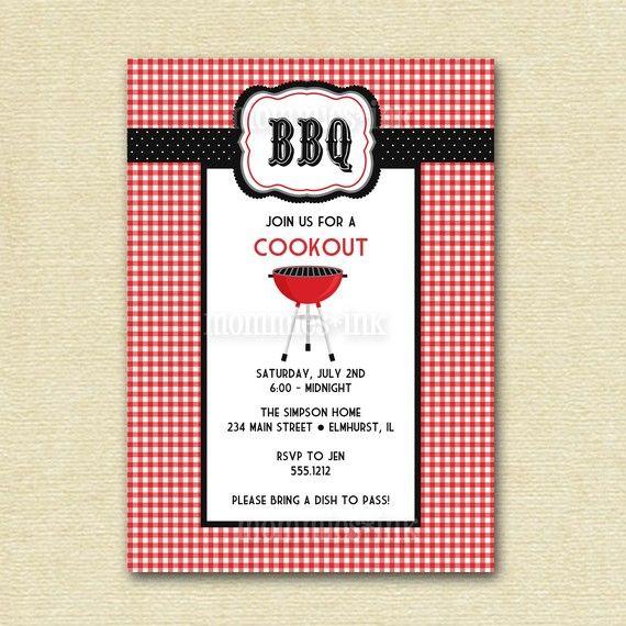 Birthday BBQ Cookout Invitation, Summer Party Invitation, Bbq ...