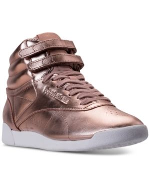 3f51a0f7e0b3df Reebok Women s Freestyle Hi Top Metallic Casual Sneakers from Finish Line - ROSE  GOLD WHITE SILVER PE
