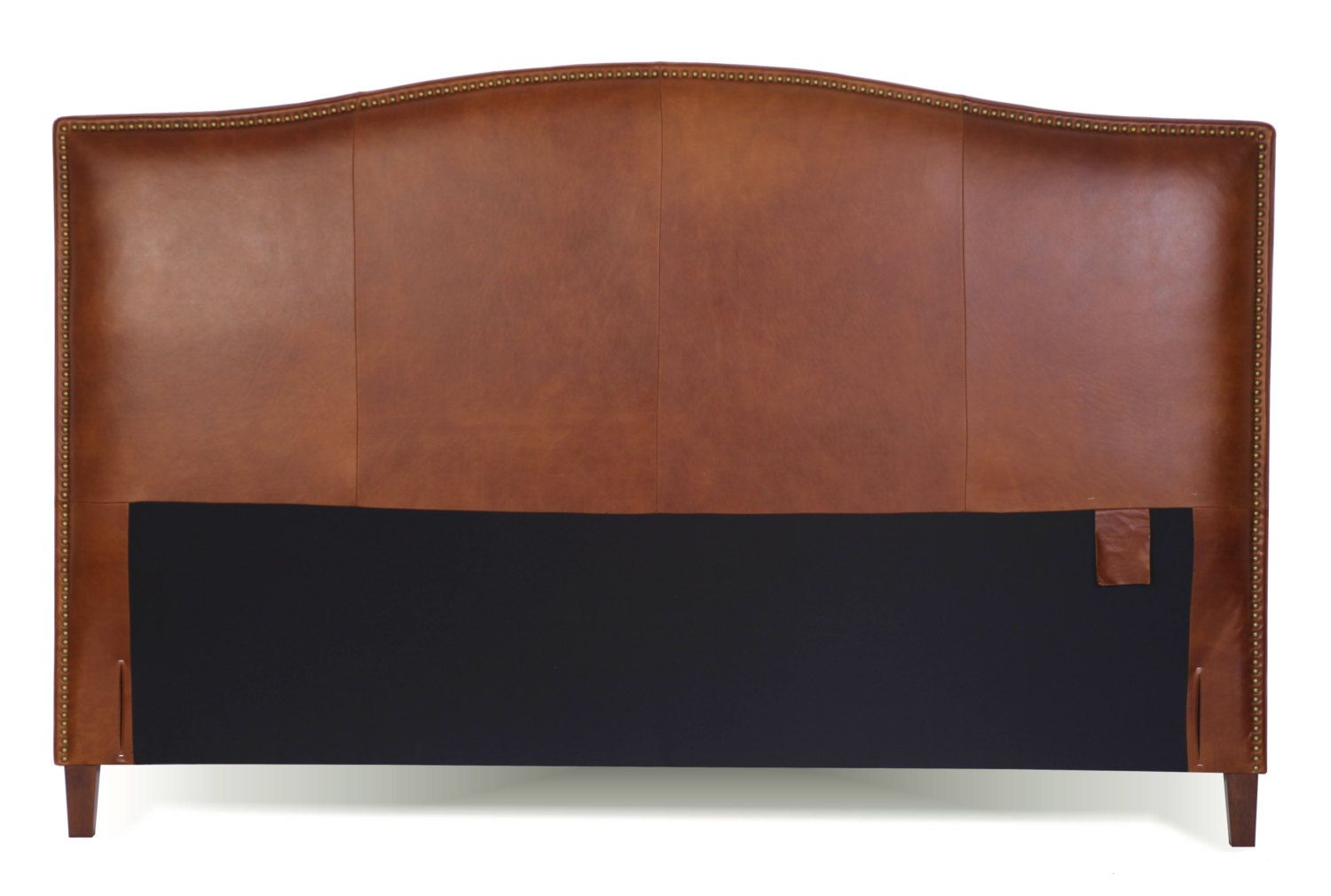 King Size Tobacco brown Leather headboard for Bed with Brass Nail ...