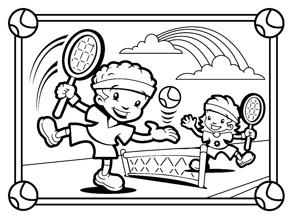 Sport Coloring, Kids Playing Tennis Coloring Pages: Kids ...