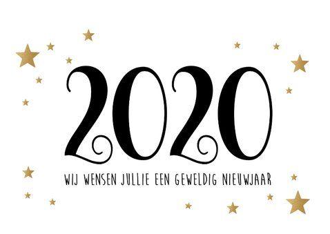 Nieuwjaarskaart Fijne Feestdagen goudlook wit   Kaartje2go