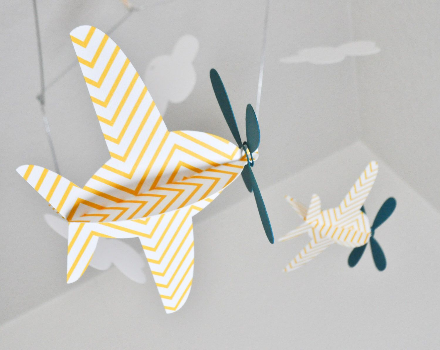 Baby Mobile, Airplanes in Yellow Chevron and  Teal by CactusAndOlive on Etsy https://www.etsy.com/listing/76951837/baby-mobile-airplanes-in-yellow-chevron