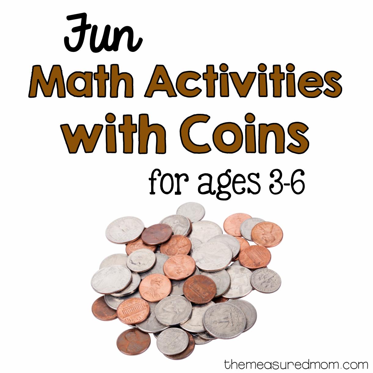 Money Math For Preschool Kindergarten And First Grade