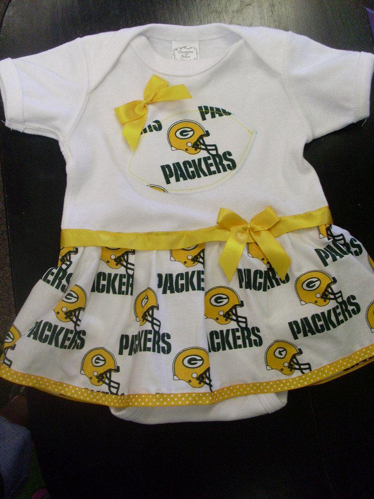 Green Bay Packers Onesie Dress 24 99 Via Etsy Cute Baby Clothes Packers Baby Onesie Dress