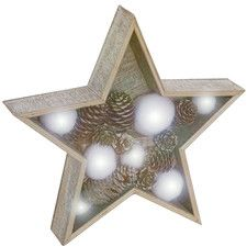 Wooden Star with LED Lights Sculpture