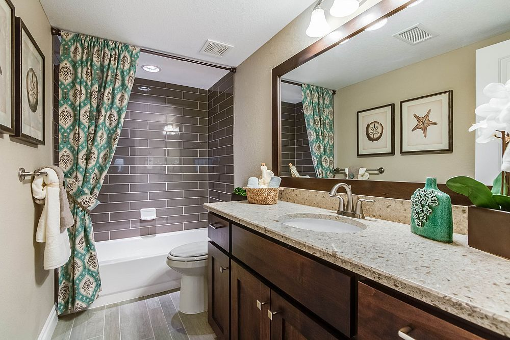 """Bathroom from the """"Yale"""" floor plan at Yeager Farm - New Homes in Longmont, CO   Henry Walker"""