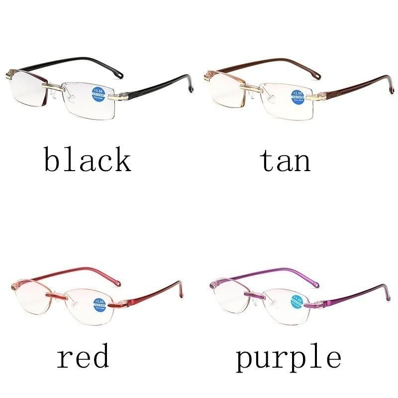 Read Glasses Diamond Trimming ?Glasses Anti Blue Light Frameless Glasses Read Glasses Item Type: Reading Glasses Degrees: 100-400 Product category: presbyopic glasses Style: comfort, retro Style: common for men and women Package: 1 pc