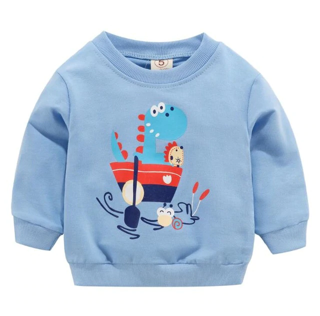 Baby Girl Boy Hoodie Shirt Clothes Cartoon Dinosaur Solid Color Pullover Tops Sweatshirt Outfits 6 M-4 T