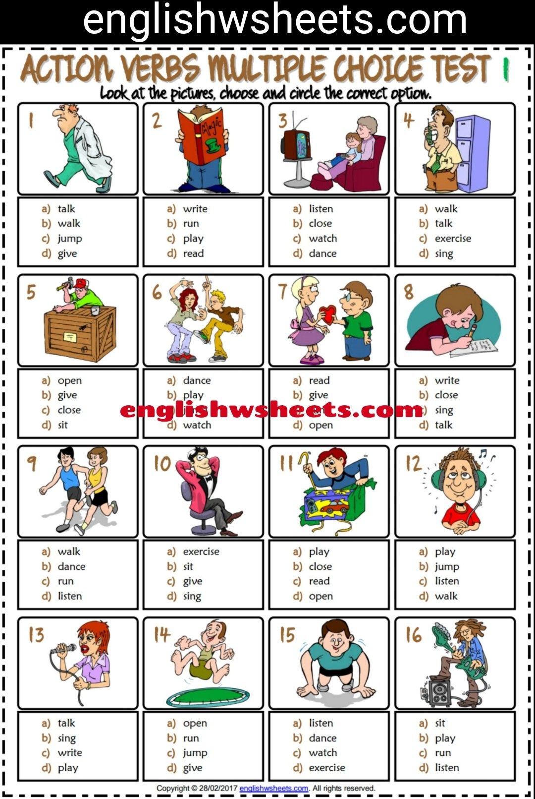 Action Verbs Esl Printable Multiple Choice Tests For Kids #action ...