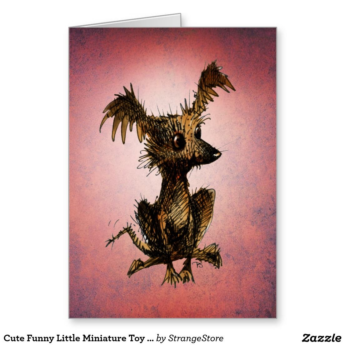 Cute Funny Little Miniature Toy Dog Lover Greeting Card from Paul Stickland's #StrangeStore