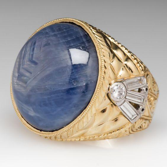 57177925d6d1e 56 Carat Large Star Sapphire Mens Ring 18K Gold | Mister Blue in ...
