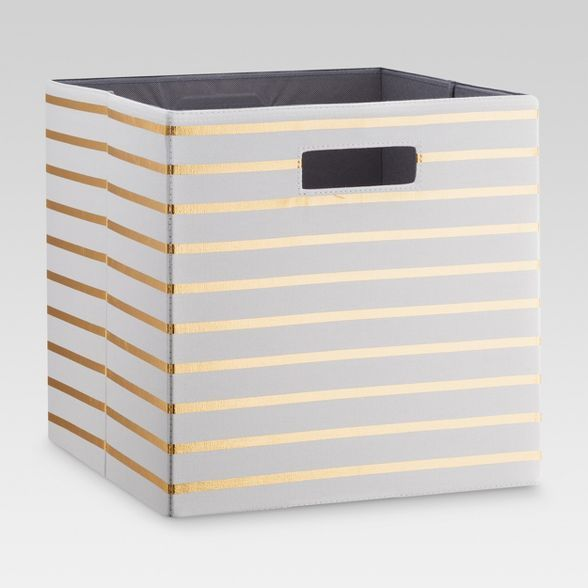 13 Fabric Cube Storage Bin White Gold Stripe Threshold In 2020 Fabric Storage Bins Cube Storage Cube Storage Bins