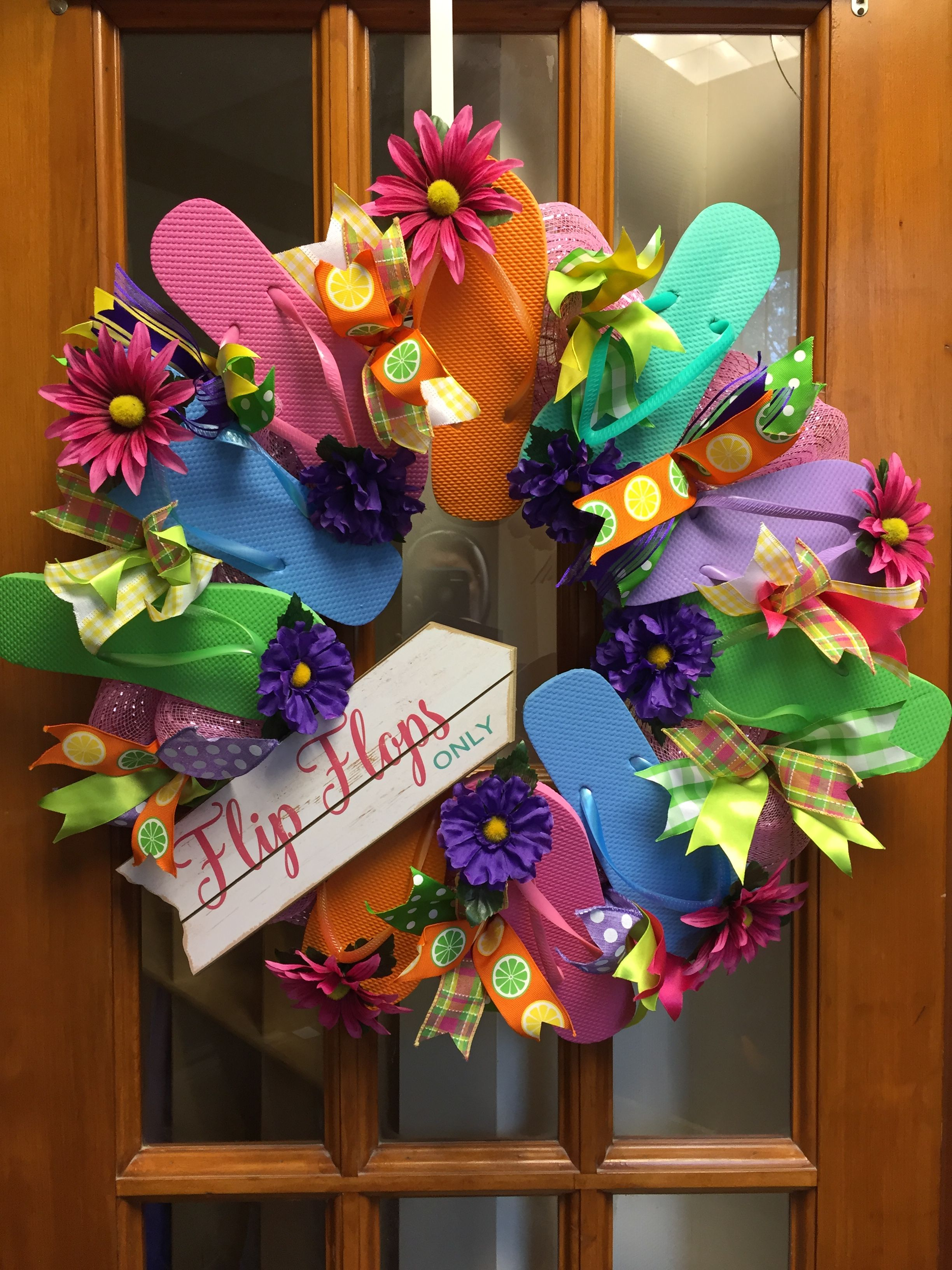 This Flip Flop Wreath was created with the help of my Kindergarten class.