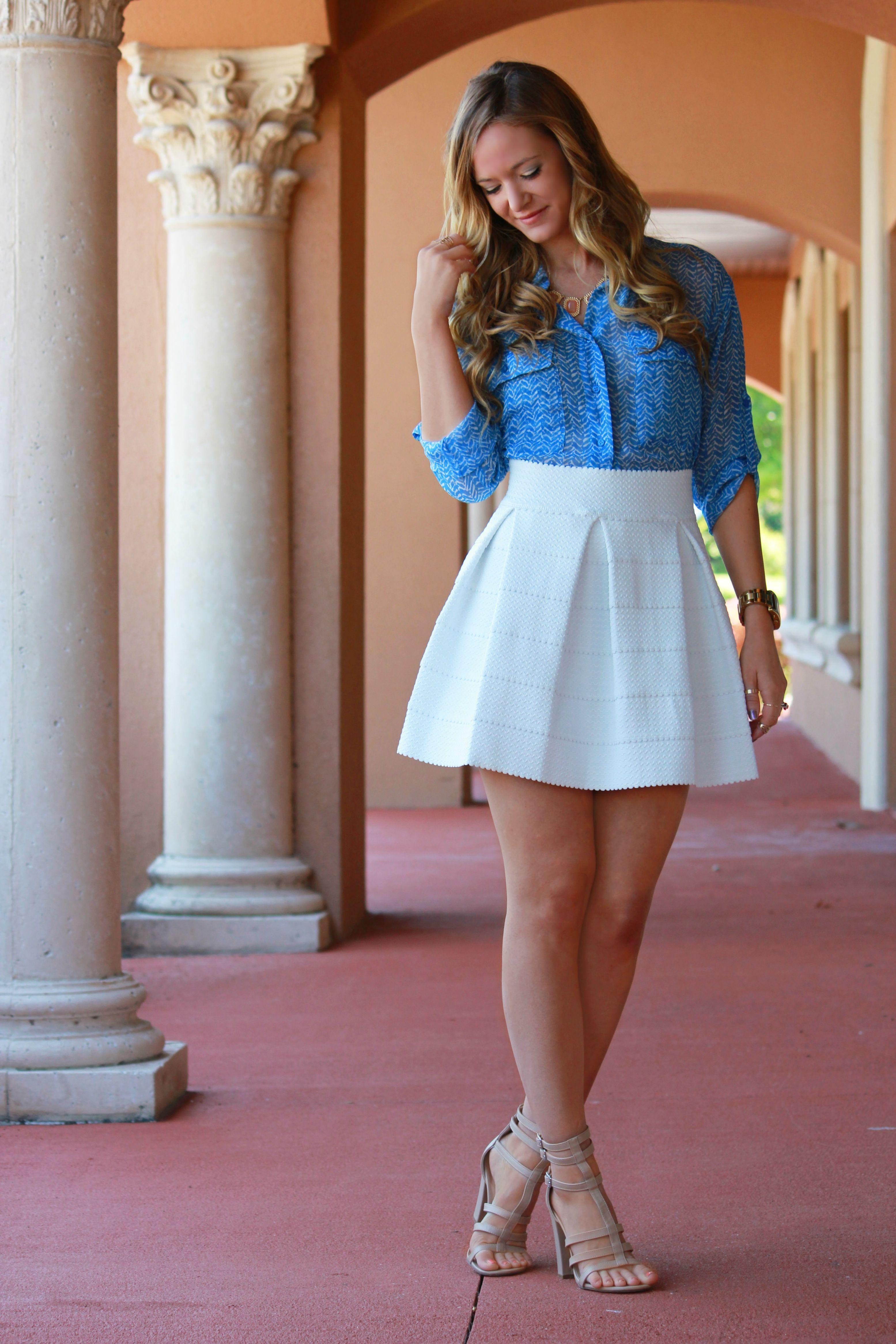 c771e1cc78 Spring outfit  white skater skirt and blue shirt