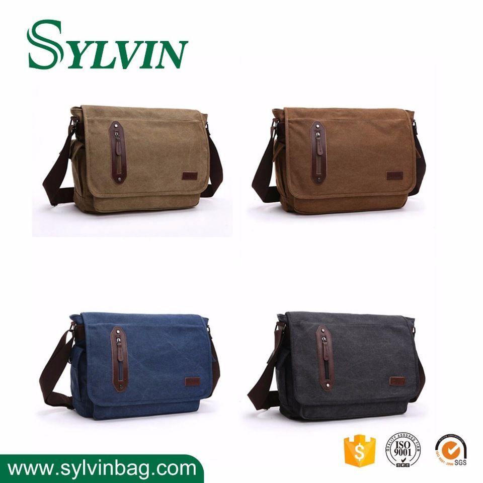 Two Sizes Leisure Custom Design Laptop Carrier Canvas Men's Shoulder Bag