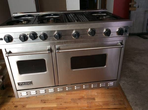 48 viking range 6 burners with grill double oven convection or regular cooking viking island hood with adjustable fan capacity and that have dimmer