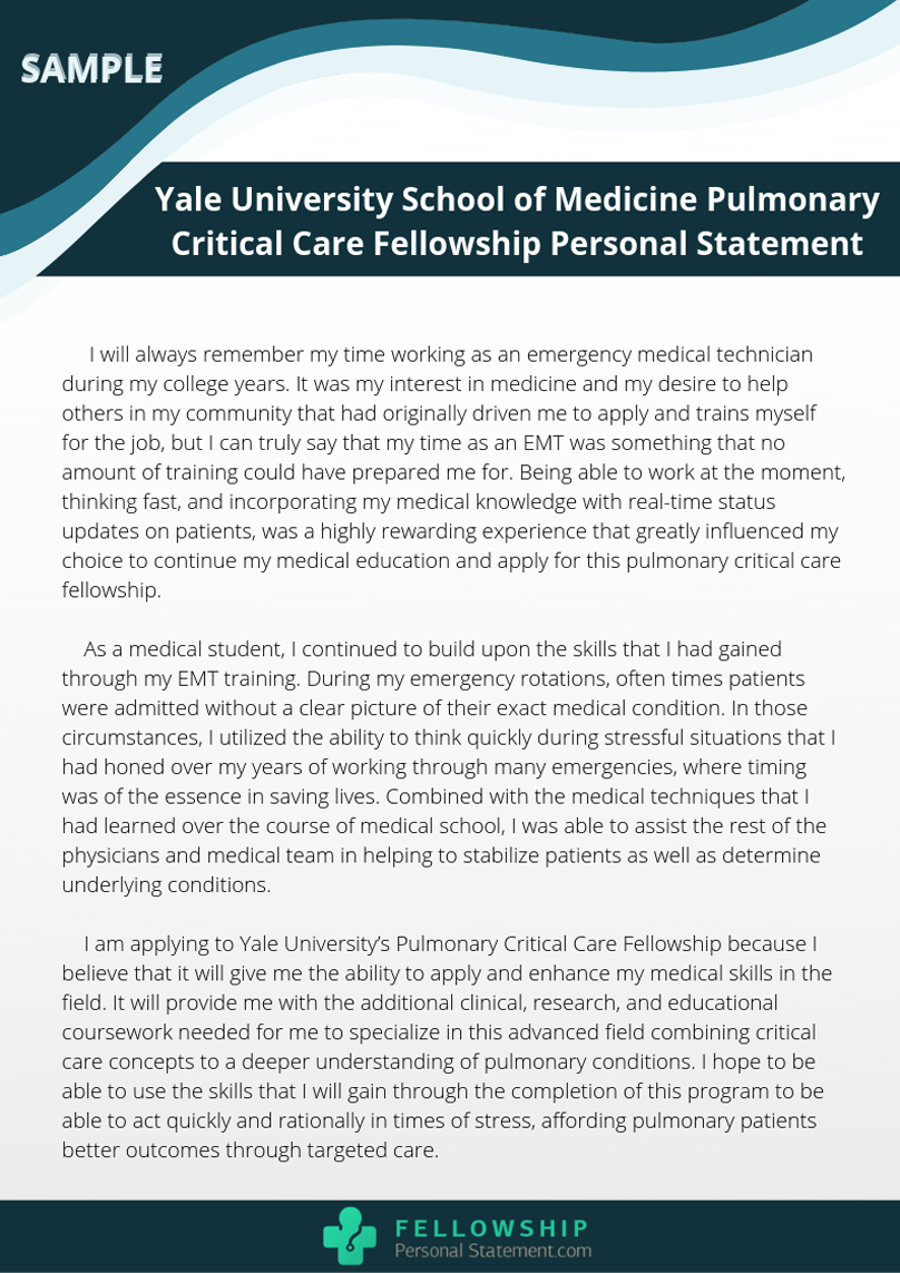 Pulmonary Critical Care Fellowship Personal Statement Sample That Will Show You How A Perfect Stat Examples