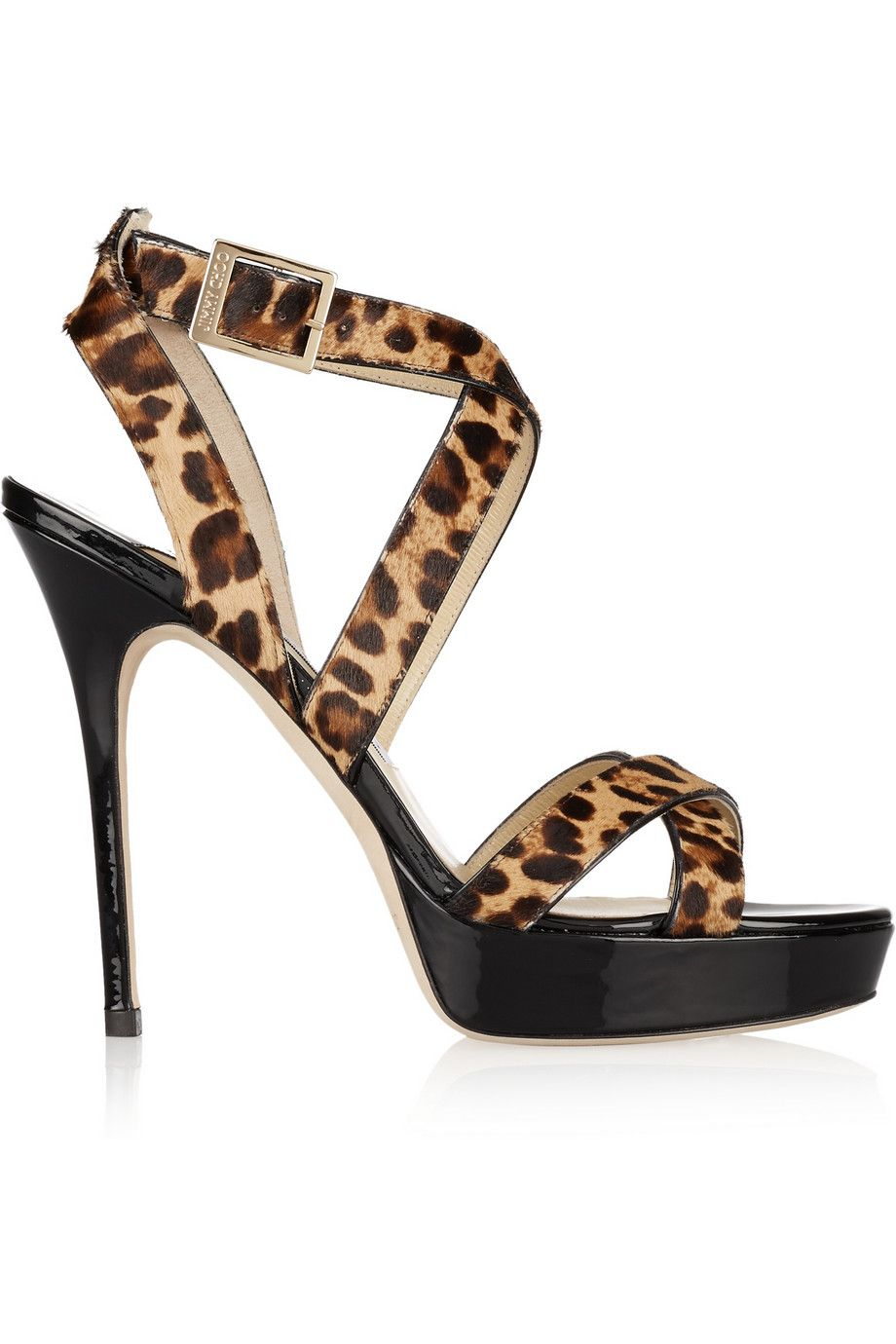 Jimmy ChooVamp leopard-print calf hair and patent-leather sandals
