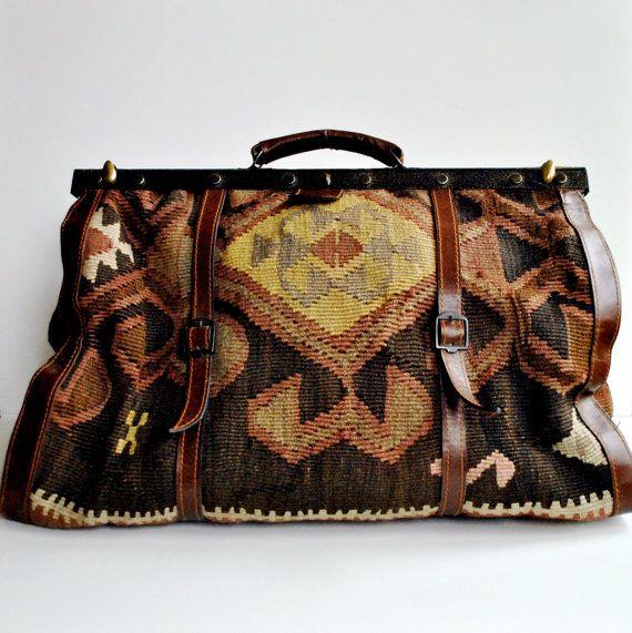 Kilim Carpet Bag Large Overnight Luggage Turkish 1970s