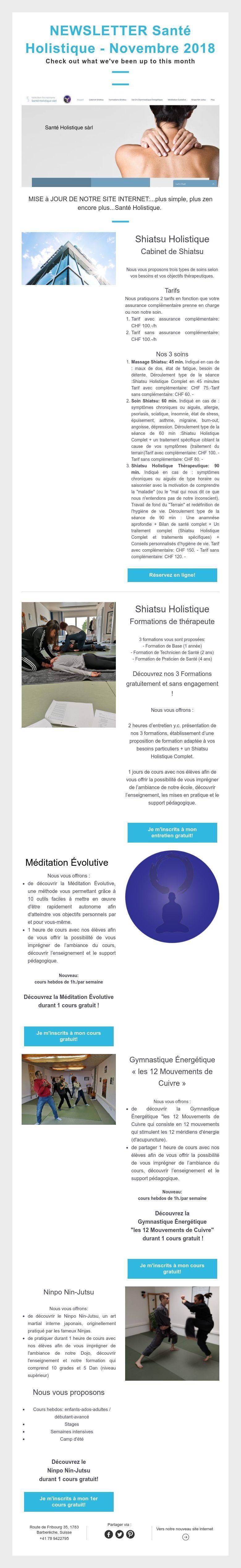 NEWSLETTER Santé Holistique Novembre 2018 Check out what