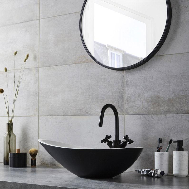 Vasque A Poser Resine Et Marbre L 56 4 X P 32 3 Cm Noir Shila Leroy Merlin Beton Blanc Vasque A Poser Ciment Blanc