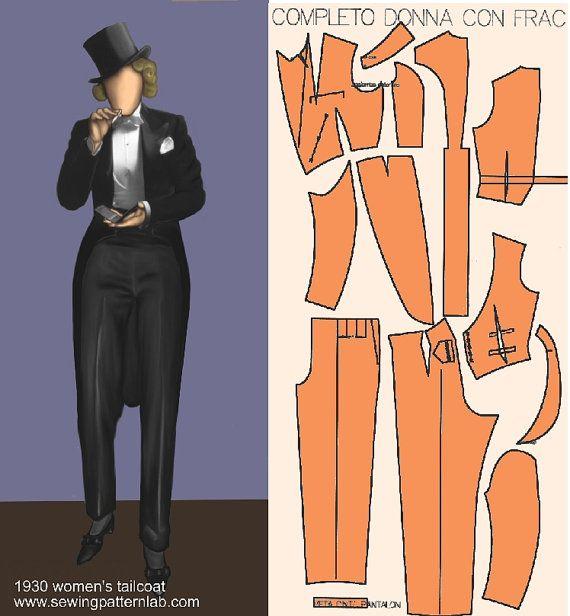 Classic women\'s tailcoat suit pattern 2 patterns to print | Tux ...
