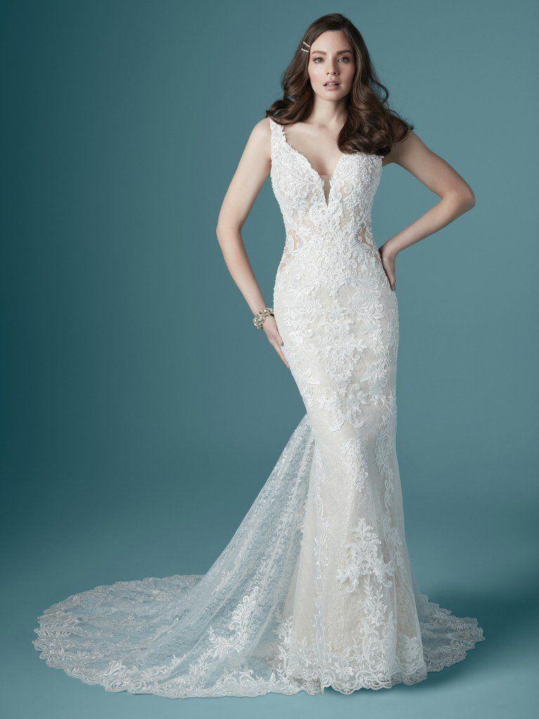 Sleeveless V Neckline Lace Sheath Wedding Dress With Illusion Cutouts Maggie In 2020 Sheath Wedding Dress Lace Wedding Dresses Kleinfeld Maggie Sottero Wedding Dresses