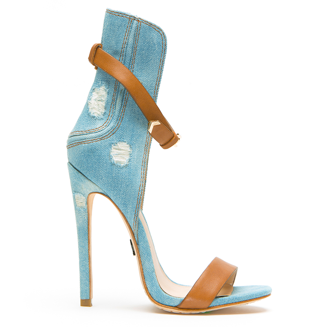 "1a78f5667 ""Shoe du Jour"" Emily B ""Yayi"" Denim Ankle Strap Sandals « Shoefessional"