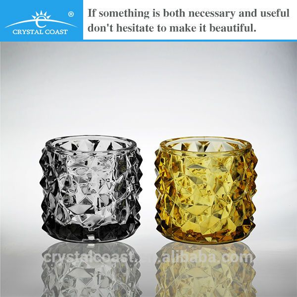 Unique Colored Massage Glass Decorative Candle Jars Wholesale Photo