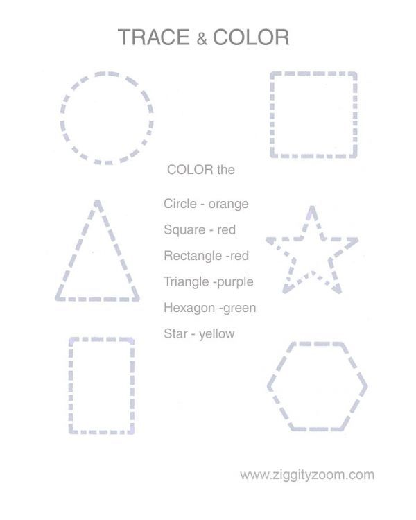 Trace & Color Shapes Worksheet Shape worksheets for