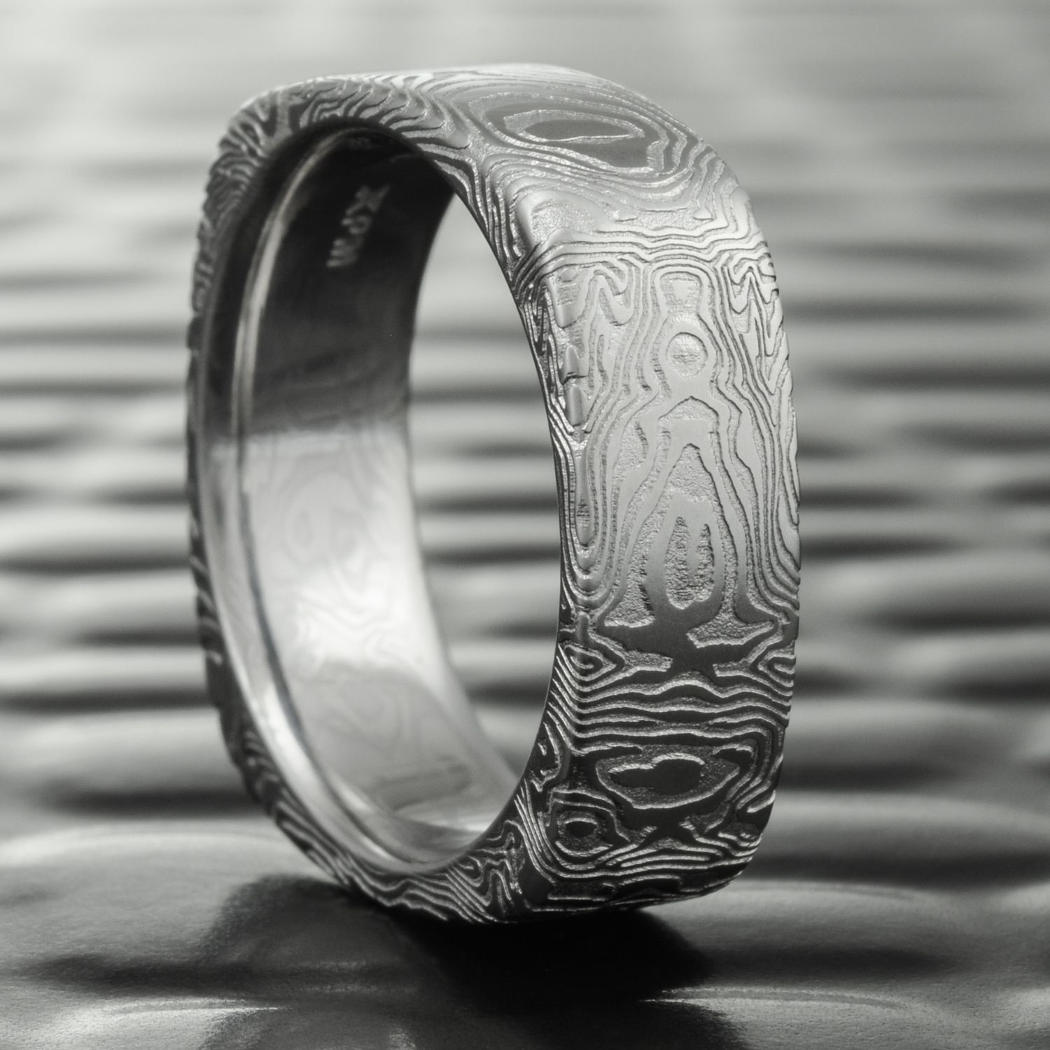 Men s Damascus Steel Wedding Band Alternative Woodgrain Ring at