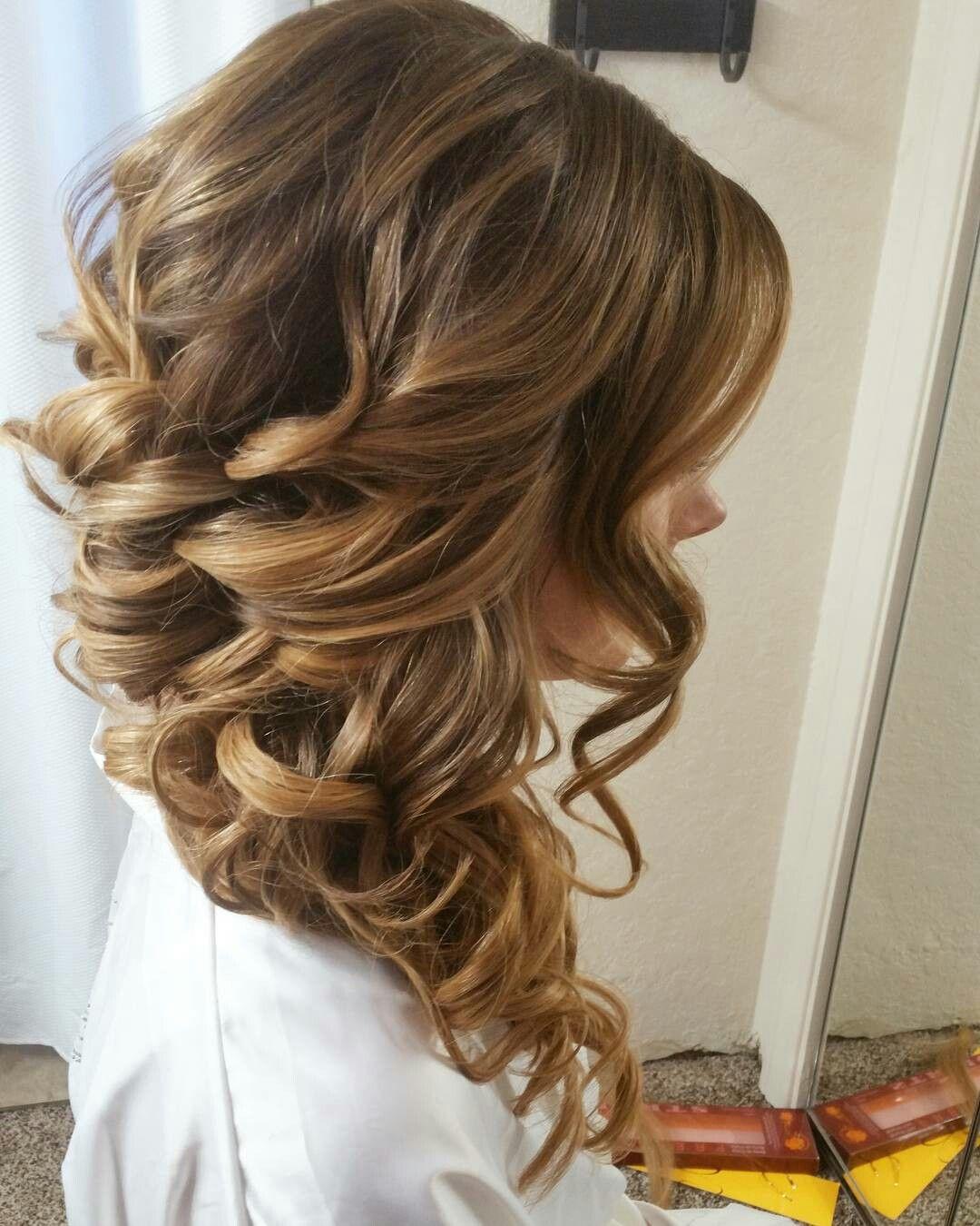 Faux braided wedding hairstyles. Braid. Side swept curled ...