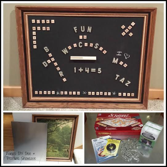 Re-Scape: Diana from Diana's DIY Den created this from old frame, sheet metal piece and scrabble tiles!