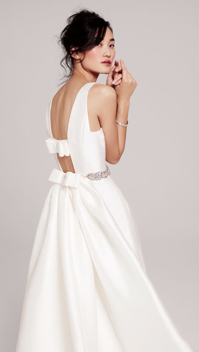 Two by Rosa Clara \'Delicia\' gown with back cutouts and bow details ...