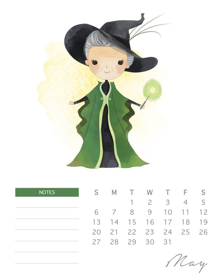 free printable 2018 watercolor harry potter calendar cute little rh pinterest com