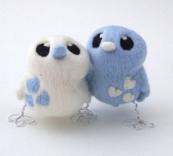 Pale Blue and White Love Birds Tweet Needlefelted Birds #feltbirds